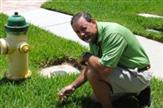 Peter Eells inspecting a customer's lawn for insects and grass health